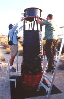 Setting up Capella at the Cottonwood Springs Campground in Joshua Tree.
