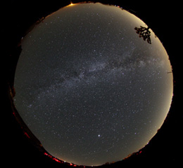 Fisheye view of the Milky Way over GMARS—North is to the left