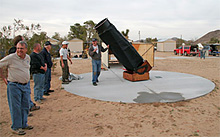 A crowd gathers around Capella, the RAS's 22-inch Newtonian telescope at GMARS