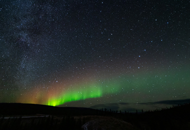 The aurora borealis from north of Fairbanks, Alaska on October 16, 2020. Photo by Daniel Perry.